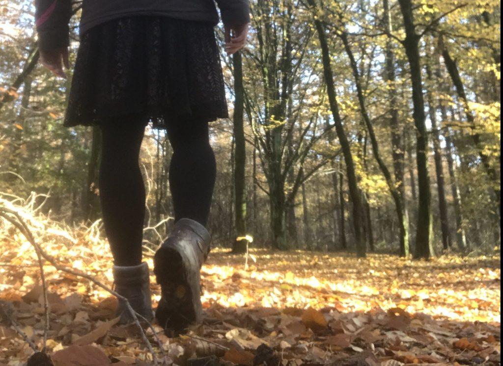 foto van wandelende benen in het bos: 10000 stappen lunch-wandelen is gezond