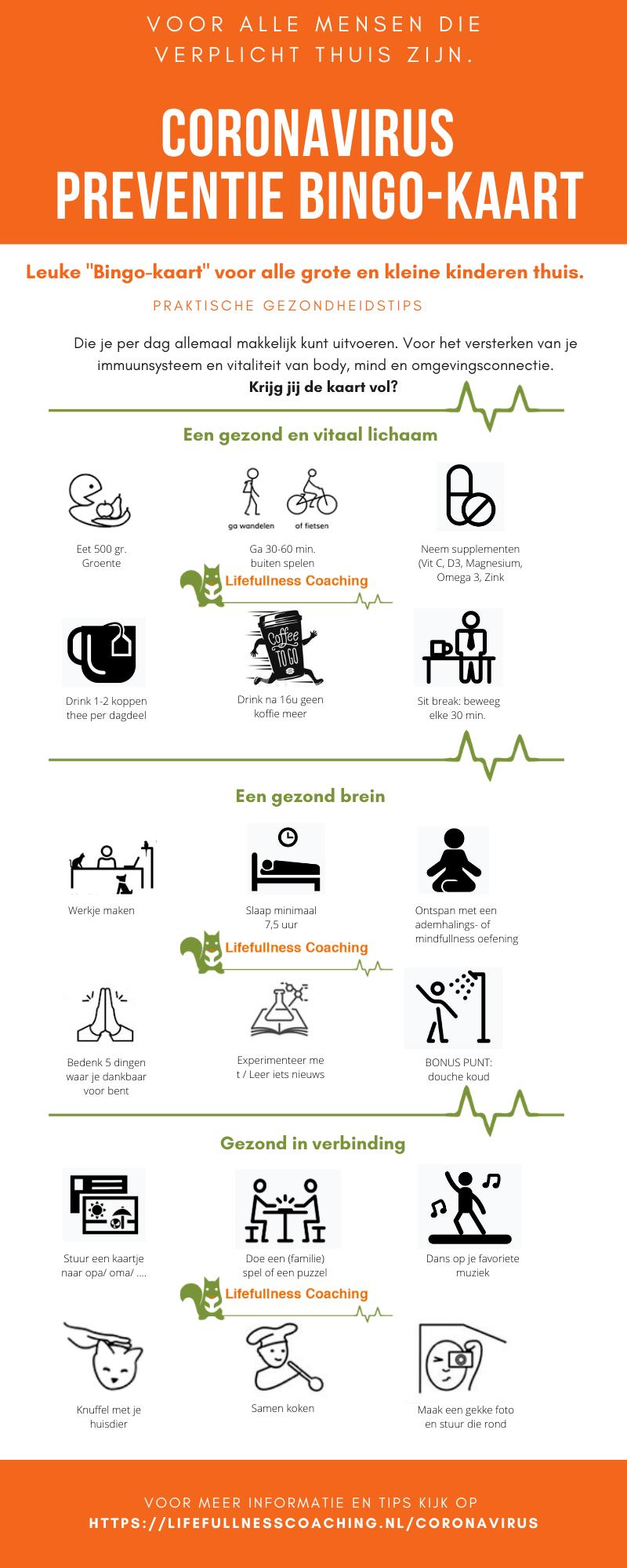 Lifefullness Anti-Corona bingokaart Infographic